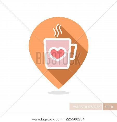 Tea Cup With Heart And Steam Thin Line Pin Map Icon. Valentines Day Symbol. Map Pointer. Vector Illu