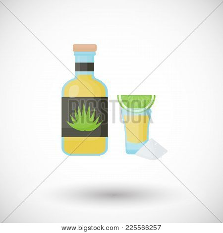 Tequila Bottle And Shot With Lemon And Salt Flat Vector Icon, Flat Design Of Mexican Beverage, Blue