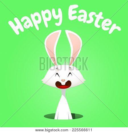 Vector Illustration Of White Rabbit In The Hole. Easter Banner.