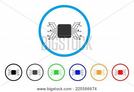 Chip Circuit Rounded Icon. Style Is A Flat Gray Symbol Inside Light Blue Circle With Bonus Color Var