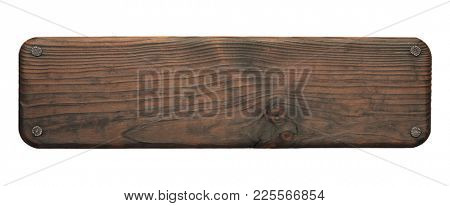 Rustic wood board with nails. Dark empty lumber sign.
