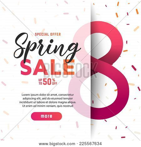 Congratulations On March 8 .paper Art Of  Spring Origami Sale Banner   Set Concept. 50 Percent Disco