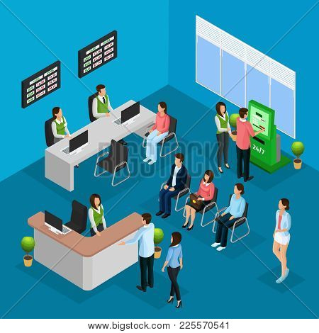 Isometric People In Bank Office Concept With Workers Clients And Different Financial Services Vector