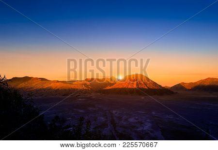 Mount Bromo Volcano (gunung Bromo) At Sunrise With Colorful Sky Background In Bromo Tengger Semeru N