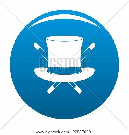 Hat With A Stick Icon Vector Blue Circle Isolated On White Background