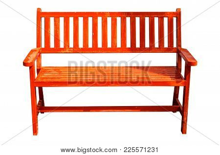 Red Wooden Bench Isolate On White Background