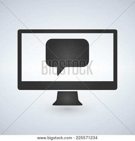 Computer Communication Message Vector Icon, Isolated On White