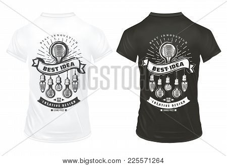 Vintage Light Bulbs Prints Template With Energy Efficient Lightbulbs Of Different Shapes On Shirts I