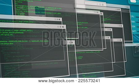 Computer Screen With Source Code, Concept Of Programming Or Hacking (3d Render)