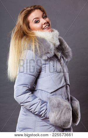 Seasonal Fashion, Clothes And Clothing Concept. Woman Wearing Light Winter Warm Furry Coat Perfect F