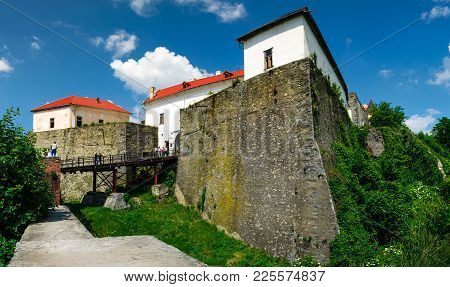Mukachevo, Ukraine - May 25, 2008: Palanok Castle In Summertime. Old Fortification Now Serves As The