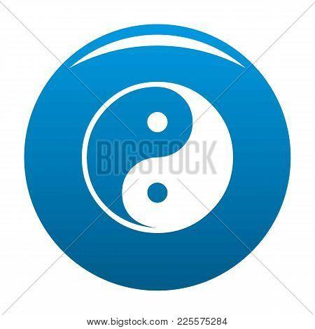 Ying Yang Symbol Of Harmony And Balance Icon Vector Blue Circle Isolated On White Background
