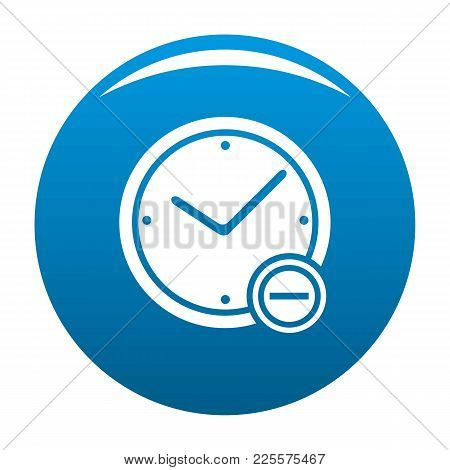 Time Minus Icon Vector Blue Circle Isolated On White Background