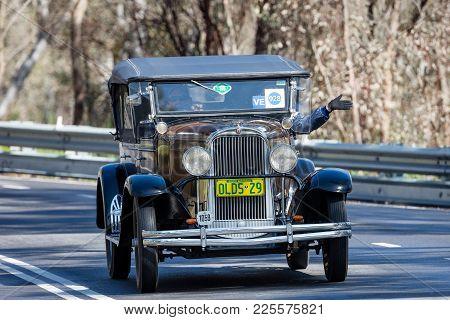 Adelaide, Australia - September 25, 2016: Vintage 1929 Oldsmobile Fr Series Tourer Driving On Countr