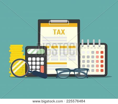 Concept Tax Payment. Data Analysis, Paperwork, Financial Research Report And Calculation Of Tax Retu