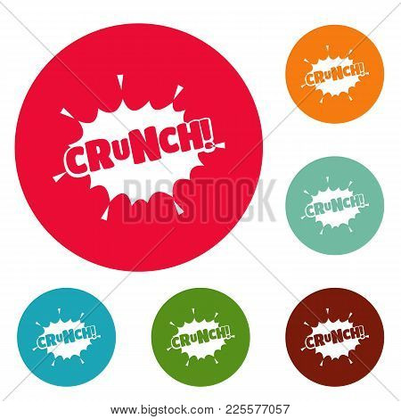 Comic Boom Crunch Icons Circle Set Vector Isolated On White Background