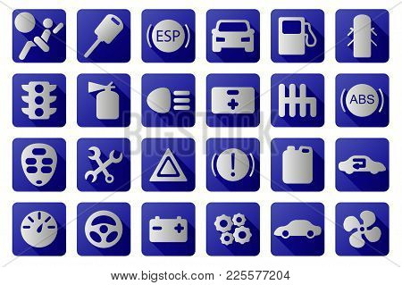 Vector Car Icons Set. Blue And White Colors. Automobile Symbol Collection.