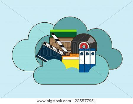 Cloud Storage, Folder With Files Of Different Formats. Document Information, Archive Web, Download A