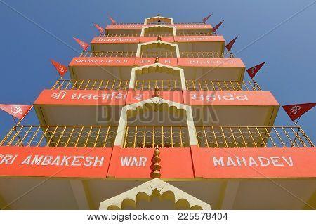 Rishikesh, India - November, 5th, 2017. Beautiful View Of Tera Manzil Temple, Trayambakeshwar In Ris