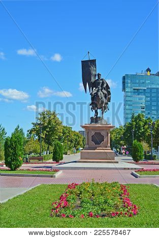 Russia, Samara - August 10, 2017: A Monument To The First Governor And Founder Of The City, Prince G