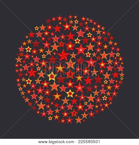 Ball Consisting Of Red And Gold Five Pointed Stars With Sickle And Hammer On Grey Background. Symbol