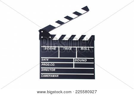 Clapperboard Or Slate For Director Cut Scene In Action Movie For Role Play. Entertainment And Object