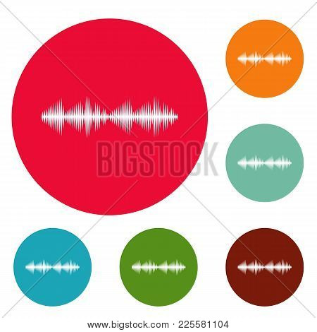 Equalizer Voice Icons Circle Set Vector Isolated On White Background