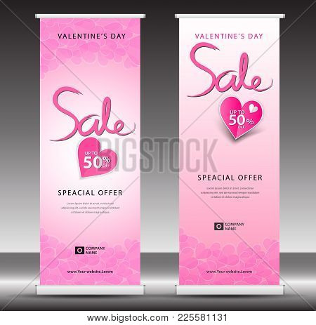 Valentines Day Sale Roll Up Banner Template, Flyer Layout Vector, Pull Up, X-banner, Web Banner Desi