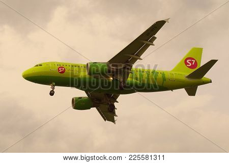 Saint Petersburg, Russia - July 03, 2016: The Airbus A319-113 (vp-btq) Of S7 Siberia Airlines Flying