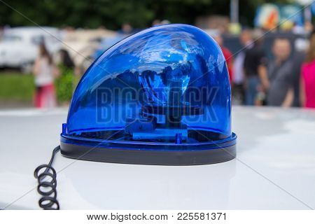 Flashing Light On A Police Car, A Police Car Arrived On A Call