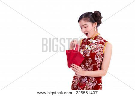 Young Asian Beauty Woman Wearing Cheongsam And Holding Packet Of Moneys And Surprising Gesture In Ch