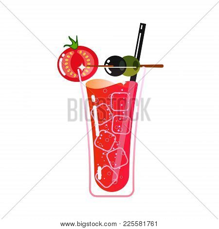 Cocktail Bloody Measure In A Glass. Cubes Of Ice, Straw, Tomato, Olives. Style Is Flat. Vector.
