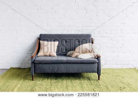Comfy Couch In Modern Living Room With White Brick Wall, Mockup Concept