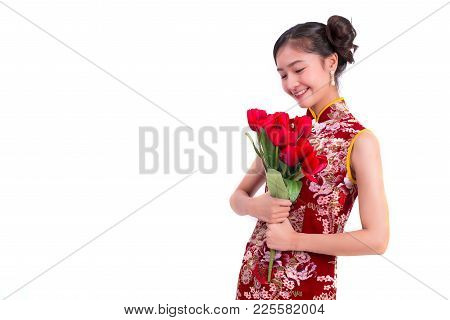 Young Asian Beauty Woman Wearing Cheongsam And Holding Red Rose Gesture In Chinese New Year And Vale