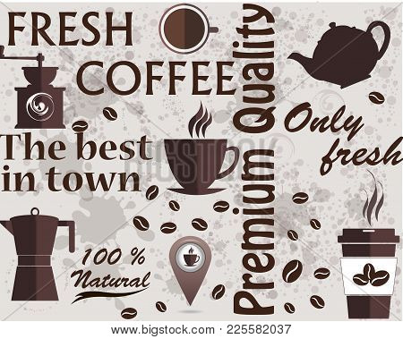 Typographic Vector Coffee Shop. Mugs, Beans And Coffee Equipment Icons For Coffeehouse, Espresso Bar