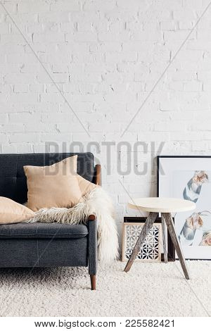 Modern Living Room Interior With Comfy Couch, Mockup Concept