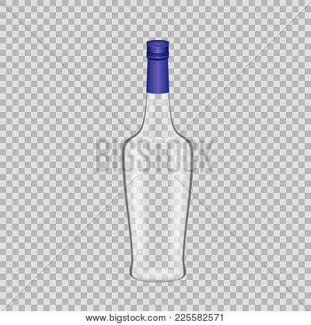 Realistic Template Of Empty Glass Liquor Bottle With Screw Cap. Template, Breadboard, Glass Package,