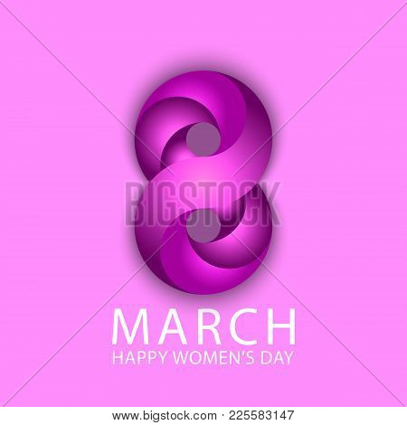 8 March Happy International Women's Day Spring Holiday Poster Background. Violet 3D 8 Number Ribbon