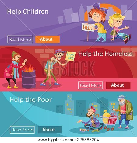 Help To Homeless People Vector Illustration For Social Charity Project Web Banners. Flat Design Of P