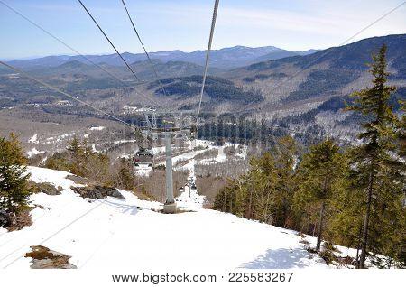 Gondola On Whiteface Mountain Ski Area, The Official Ski Area For 1932 And Adirondack Mountains, New