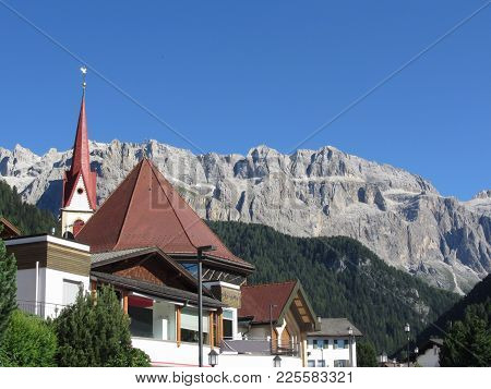 Panoramic View Of Selva Di Val Gardena, South Tyrol , Alto Adige - Italy With Dolomites Background