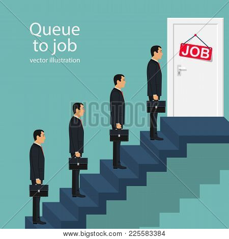 Queue Businessmen Standing In Front Of The Door On Stairs. Job Search. Competition For Place At Work