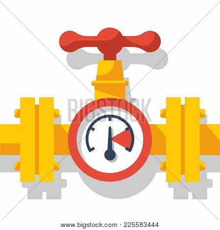 Gas Pipeline With A Valve And A Manometer. Vector Illustration Flat Design. Industry System Isolated