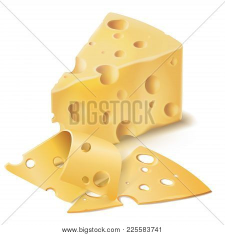 Vector Realistic Emmental Cheese Wedge With Thin Slices. Swiss, Italian Dairy Fresh Organic Product,