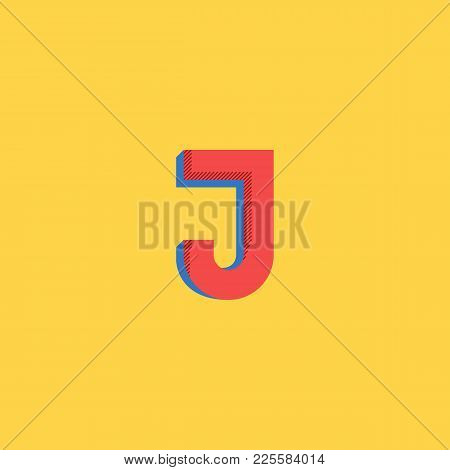 Pop Art Style Logo J Letter. Halftone Colors Typography Print Emblem Mockup. Comics Big Red Initial