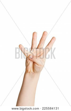 Kid Hand Shows Number Four Isolated. Counting, Enumeration, White Studio Background.
