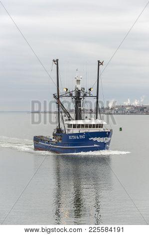 New Bedford, Massachusetts, Usa - February 6, 2018: Commercial Fishing Boat Ruth & Pat, Hailing Port