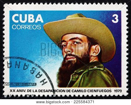 Cuba - Circa 1979: A Stamp Printed In Cuba Shows Portrait Of Camilo Cienfuegos, Cuban Revolutionary,