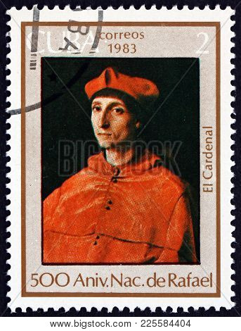 Cuba - Circa 1983: A Stamp Printed In Cuba Shows The Cardinal, Painting By Raphael, 500th Birthday A
