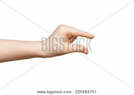 Kid Hand Measuring Invisible Items, Child Palm Making Gesture While Showing Small Amount Of Somethin